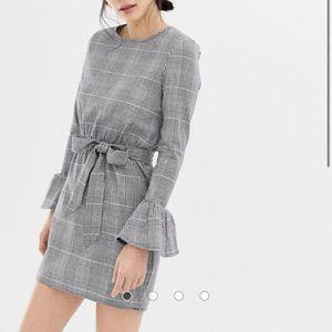 ASOS Parisian check dress flare sleeve tie waist